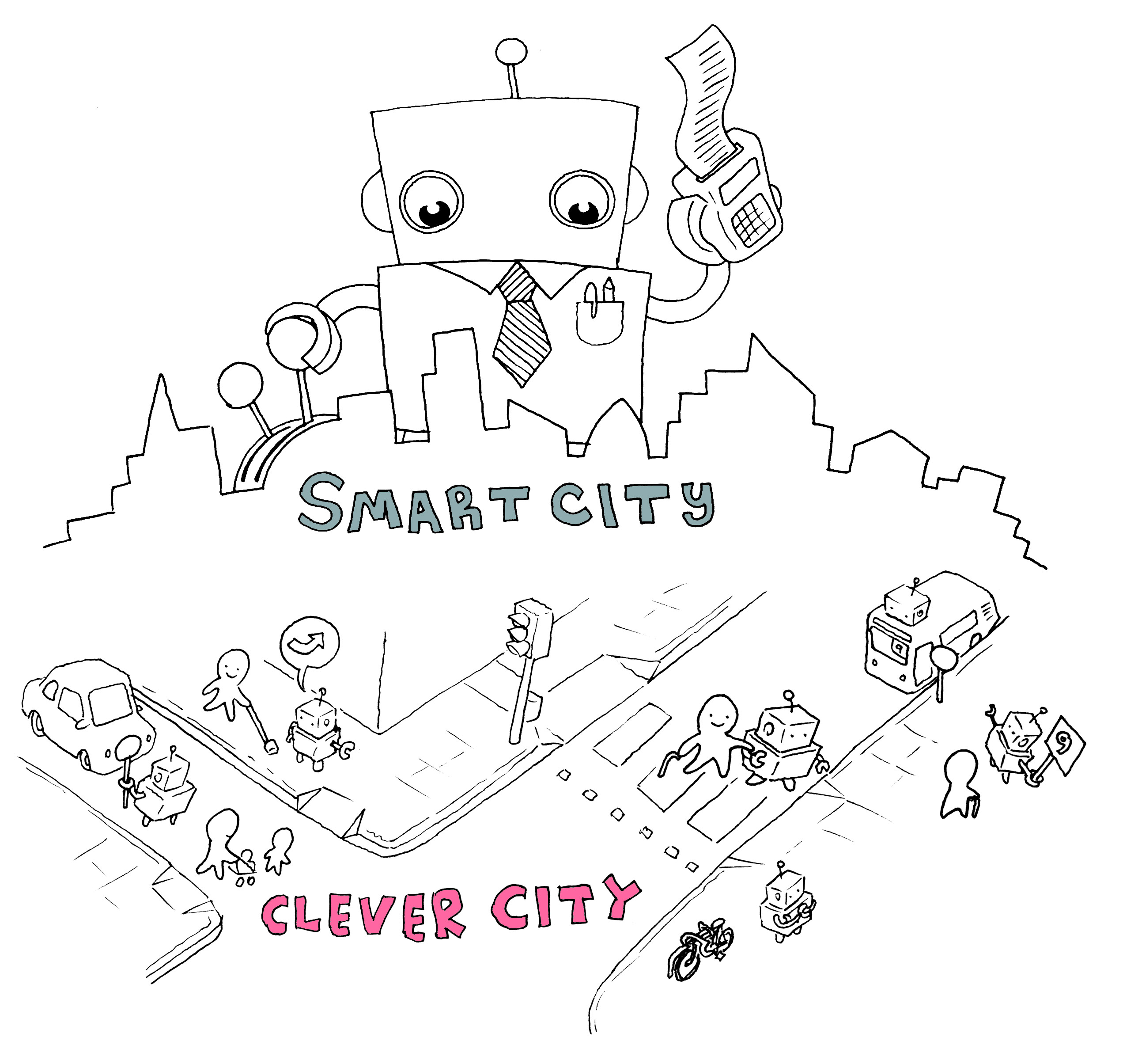 Drawing of a large robot looming over the skyline with a calculator and a lever, labelled Smart Sity. Below it, at street level, some citizens are being assisted by a number of small robots. This scene is labelled Clever City