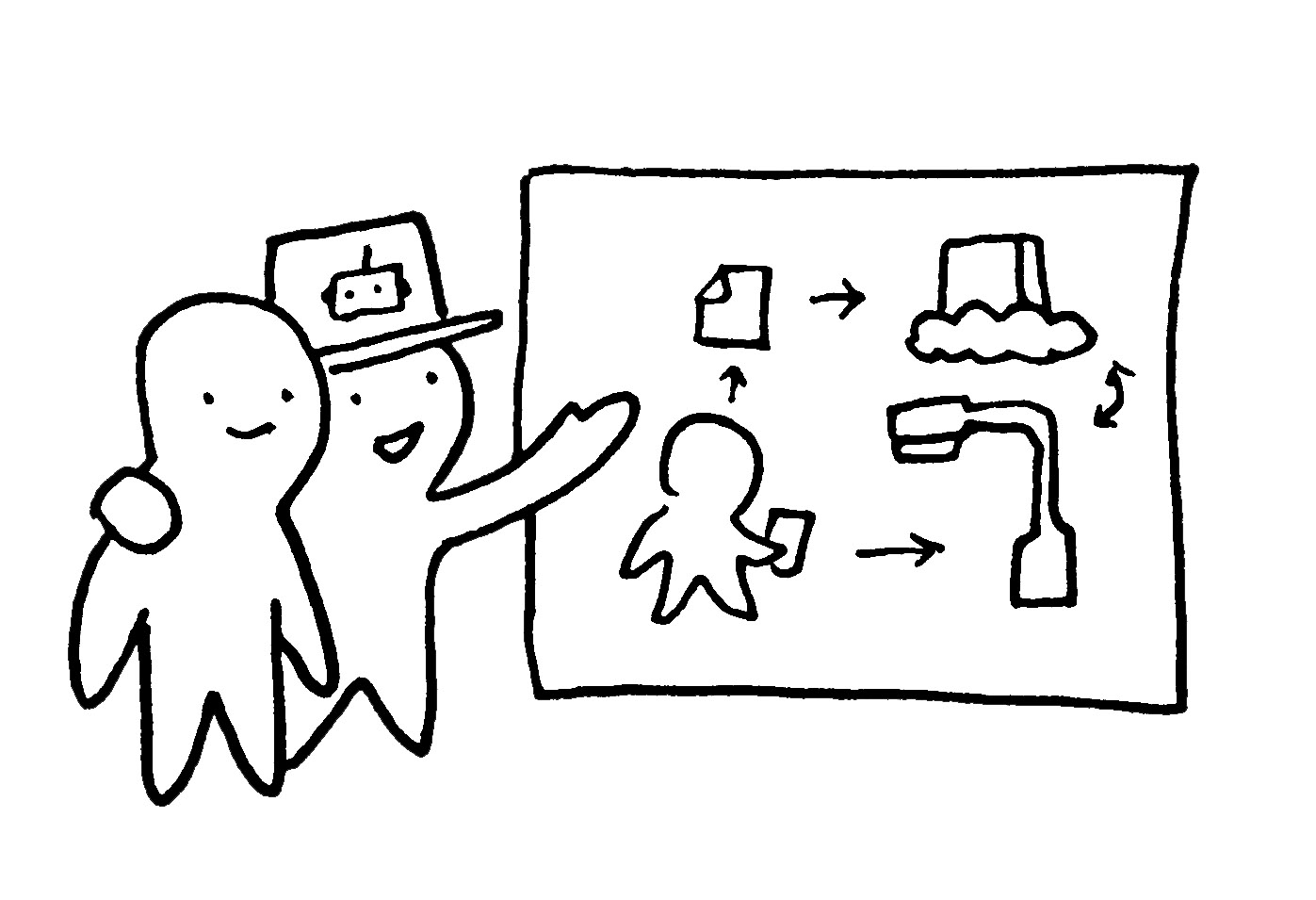 Drawing of a figure in an official looking hat explaining a system diagram to another figure